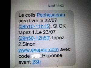 SMS livreur pecheur.com